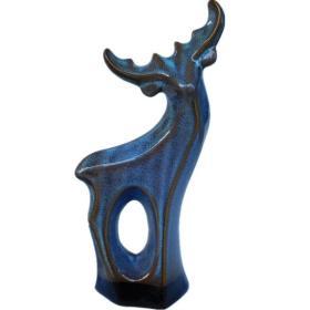 早期变色彩陶,陶瓷器珍品,鸣窑变蓝釉小麋鹿,为瓷器收藏中的神品,现代工艺很难达到啦,可遇不可求,难得一见