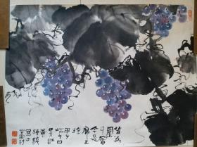 """人民画报社总编室主任,著名书画家黄钟骏""""葡萄""""水墨画"""
