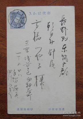 日本(1910年)明治43年1月1日(东京浅草区寄长野县东流广郡)1钱5厘邮资实寄明信片(54)