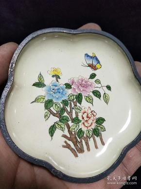 纯铜景泰蓝,手绘蝶恋花图,乾隆年制字样款,珐琅彩铜碟,搪瓷小盘子。详细看图
