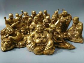旧藏乾隆年制纯铜鎏金十八罗汉一套,做工精美,极为难得的传世精品重量:一套大约47.8斤尺寸:十八罗汉高度20公分到12公分,宽度20公分到8公分