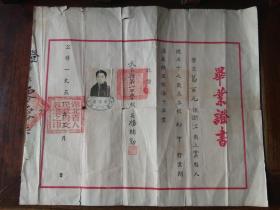 51年武昌县第一中学校(今江夏一中)发给葛百元的毕业证一张(38厘米,32.50厘米),有校长杨绪勤毛笔签名和印章,包快递。