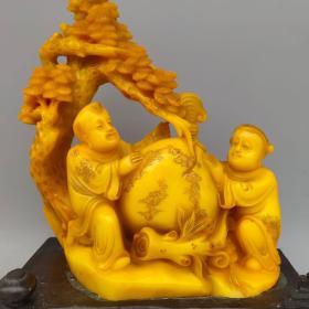 田黄石《童子献桃》延年益寿摆件尺寸如图,重4100克