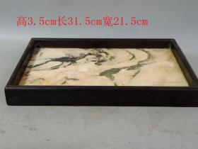 清代传世老紫檀木镶嵌石板托盘