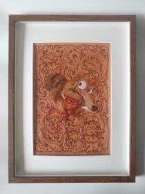 皮雕装饰画(卷草与松鼠)