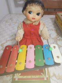 老铁皮玩具 小妹敲琴