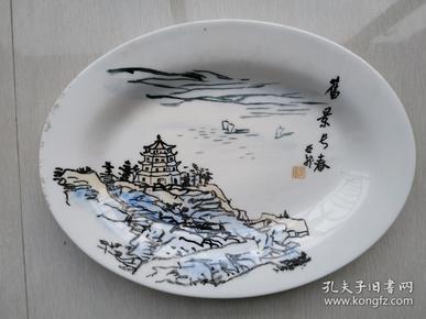 博山陶瓷厂《旧景长春》手绘小盘