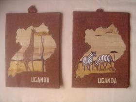 乌干达特色手工艺品:木板画《斑马、长颈鹿》(二幅)