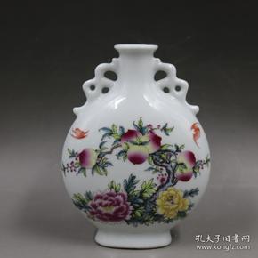 粉彩福寿纹扁瓶