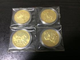 第十一届亚运会纪念章 中国金币总公司造 悲鸿奔马图铜章(原封,4枚合售)