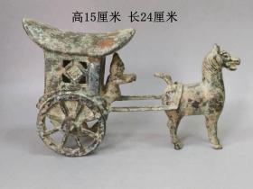 乡下收的老铜马拉车摆件