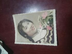 老照片一张《彩色美女老照片》8---7cm  六七十年代
