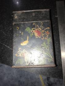 民国时期手绘菊花铁皮茶叶盒 广发字样