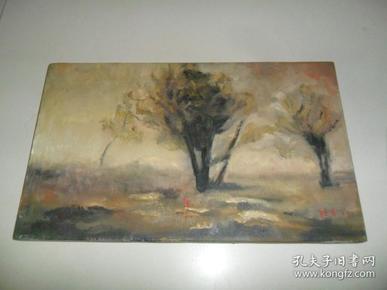 有作者签名的《风景》老油画