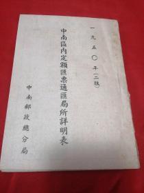 1950中南区内定额汇票通汇局所详明表