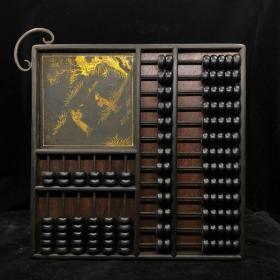 漆器木器算盘~精品描金人物故事算盘摆件~古风古玩杂项捡漏~ 老货旧货文玩收藏