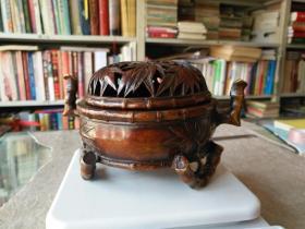 《铜制竹熏炉》高10厘米,两耳宽15厘米!重1163克!本店所有古玩只走快递!