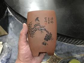紫砂三角三足兰花盆 一对2个 花鸟人物图案 庄再军制