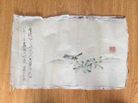 清代日本【理然法师】花鸟画作一幅