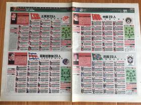 足球报2002年5月23日 韩日世界杯32强23名球员名单