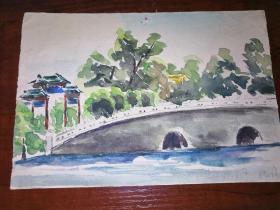 陶毅:水彩画一幅•北海。1957年绘制(19cm×13cm)