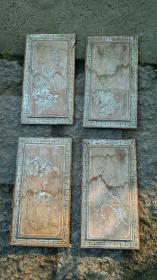 花鸟画心独板,四片,民国旧物,44×23厘米