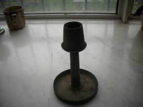 清代【铜烛台】厚实可拆卸,造型古朴。底径11厘米,高17厘米
