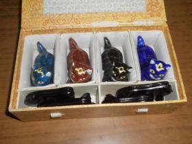 早期瓷猫小摆件一套(4只)尺寸约:长7*高4.5cm