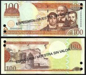 多米尼加共和国100比索票样(2004年版)