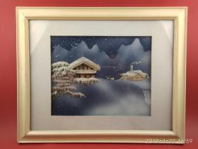 八十年代艺术品级 贝雕画 北国雪夜