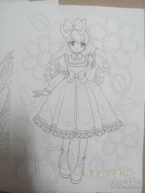 森梦系填色 高濑未生 美少女简笔画 涂色 描图画画纸