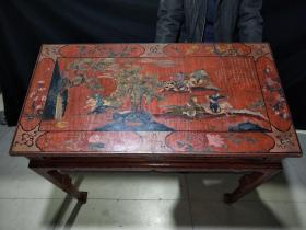 大清康熙年间木胎书桌「四周有竹签装饰」长1米,宽52厘米,高88厘米