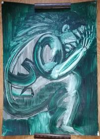 手绘软纸板水粉画:无款20190410-11(大幅)