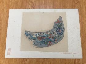 1924年-1927年间日本印刷《彩华》之【东院堂安置四天王彩色文样】八开活页图版一幅,木版彩印浮帖图
