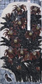 著名畫家、中國書協會員 馬 青原 水墨畫作品《翠融紅綻渾無力》一幅(紙本托片,約8平尺;作品由《中國美術市場報》直接得自于藝術家本人)   HXTX102272