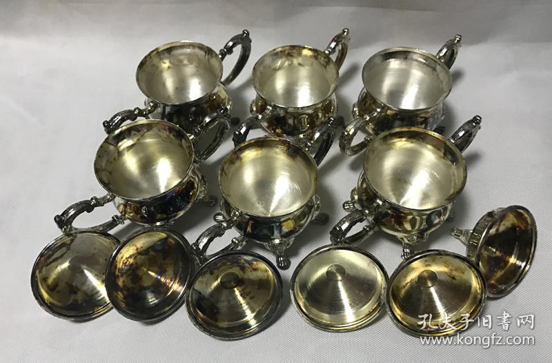 怀旧老物件欧式咖啡具茶具一套镀银咖啡壶咖啡杯8件厚重