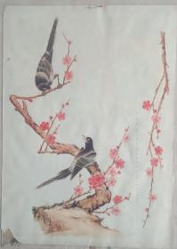 80年代民俗画系列---《喜鹊登梅》-----4开--------虒人荣誉珍藏