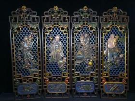 漆器镂空四扇屏,一套 四条屏挂匾 高81厘米,宽25厘米