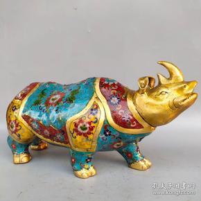景泰蓝犀牛摆件尺寸如图,重7080克