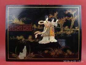 80年代库存品:扬州漆器金漆彩绘寿山石镶嵌古代仕女人物挂屏