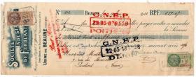外国税票和单据-----1928年法国博纳地区的societe industrlelle de ferblanterie 金属公司收据,贴税票2张