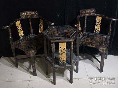 古玩 老漆器茶几三件套 老家具 老物件 老漆器座椅一套 桌子高66厘米,宽51厘米, 椅子高86厘米,宽43厘米