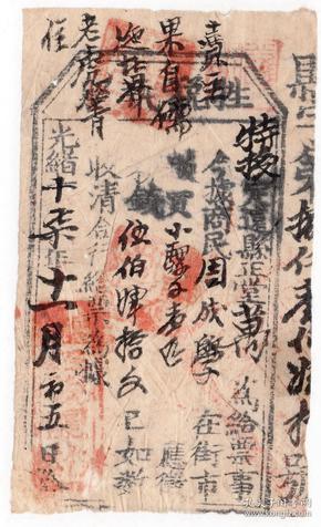 清代税收票证-----光绪17年云南省楚雄府定远县