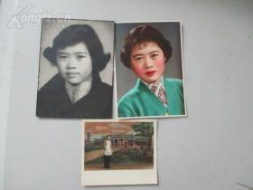 50年代 人物手工上色生活照片一組3幅 尺寸不一 最大尺寸14*10厘米