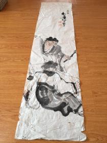 清后期日本【松华仙史】手绘《教子图?》条幅一幅