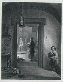 "1869年维也纳画廊钢板画系列 —《伦勃朗的工作室》 ""I.V.VAN HOVE""作品26.5x21.5cm"