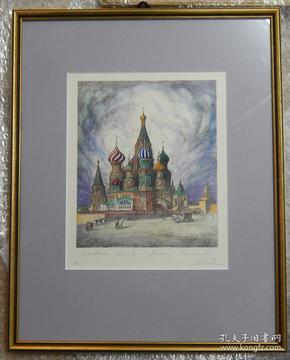 德国铜版画《教堂风景》手工着色,原装德国老镜框(已售)