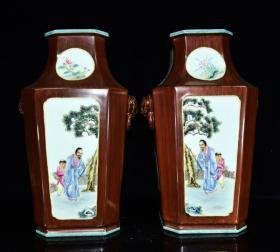 清乾隆年木纹釉开光人物纹四方瓶