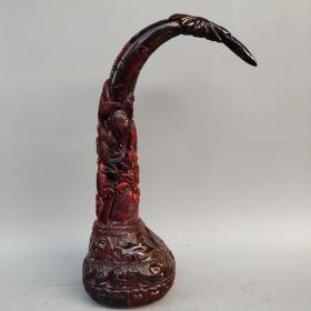 老牛角雕刻莲花牛角尖镇宅大摆件高40公分,宽13公分,重1790克