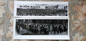 【黑白老照片】《周恩来同志追悼会》二张 26.5*10cm、25.5*7.5cm
